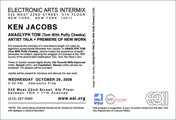 KEN JACOBS ANAGLYPH TOM (Tom With Puffy Cheeks) Artist Talk + Premiere of New Work