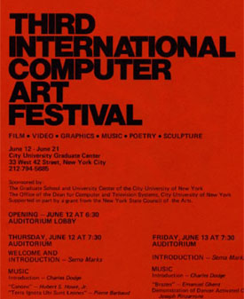 Third International Computer Art Festival: Official Program (1975)