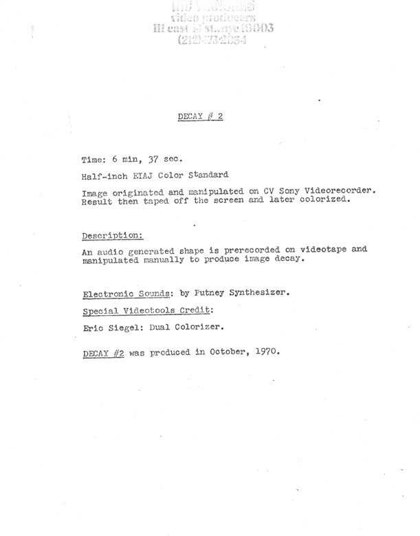 Steina and Woody Vasulka's typed description of Decay #2