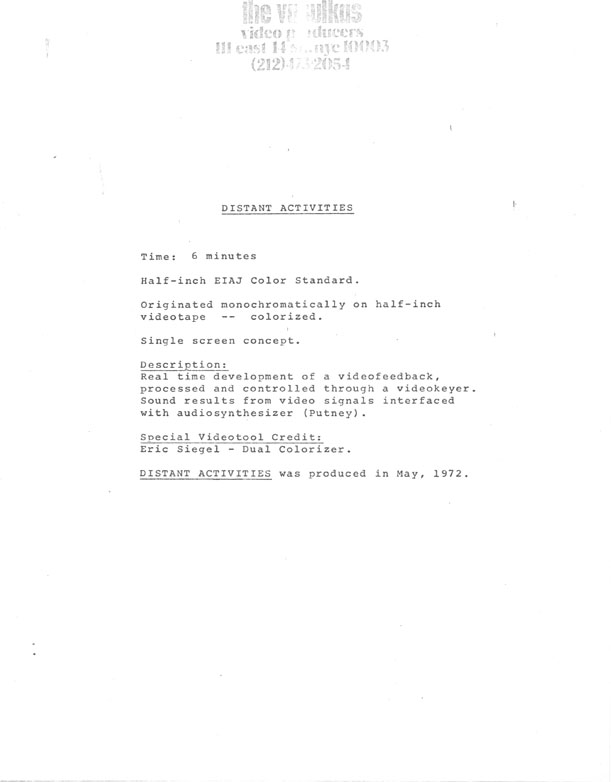 Steina and Woody Vasulka's typed description of Distant Activities