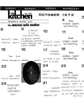 Electronic Arts Intermix October 1972 Kitchen Calendar