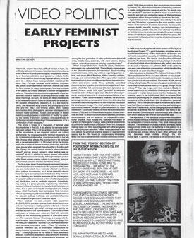 Video Politics: Early Feminist Projects