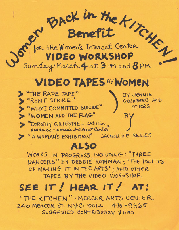"""Women Back in the Kitchen!"": Poster for benefit event at The Kitchen"