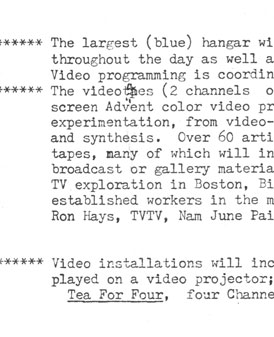 12th Annual Avant Garde Festival Description of Participating Artists and Works (1975)