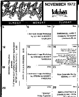 Kitchen Calendar November 1972