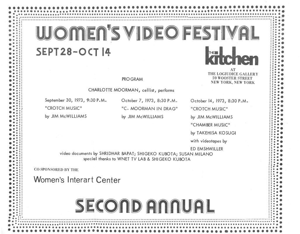 Second Annual Women's Video Festival: Program for Charlotte Moorman performances