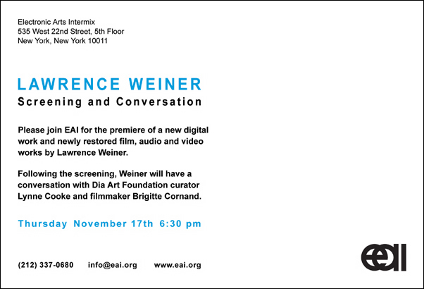 LAWRENCE WEINER: SCREENING AND CONVERSATION