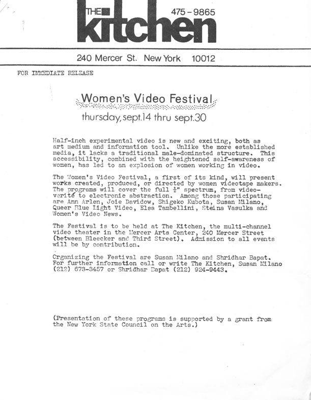 Women's Video Festival: Press Release